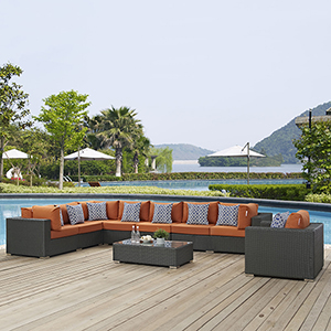 Sojourn 7 Piece Outdoor Patio Sunbrella Sectional Set in Chocolate Tuscan