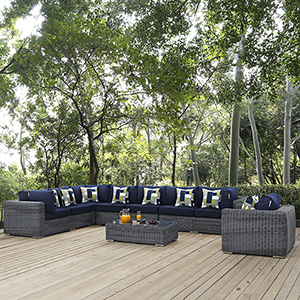 Summon 7 Piece Outdoor Patio Sunbrella Sectional Set in Gray Navy