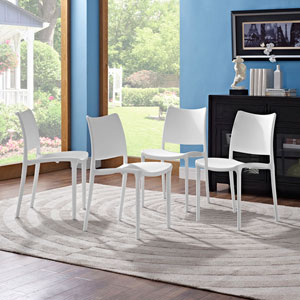 Hipster Dining Side Chair Set of 4 in White