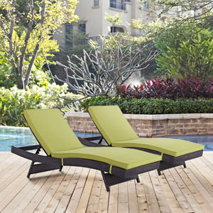 Convene Chaise Outdoor Patio Set of 2 in Espresso Peridot
