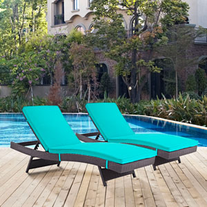 Convene Chaise Outdoor Patio Set of 2 in Espresso Turquoise