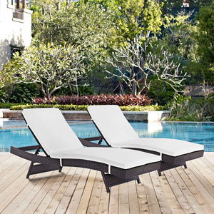 Convene Chaise Outdoor Patio Set of 2 in Espresso White