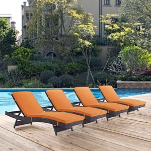 Convene Chaise Outdoor Patio Set of 4 in Espresso Orange