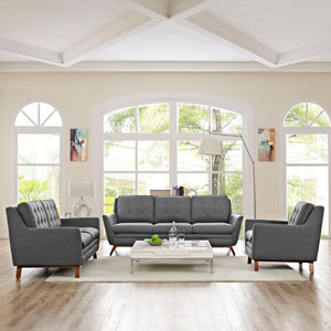 Beguile Living Room Set Fabric Set of 3 in Gray