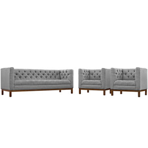 Panache Living Room Set Fabric Set of 3 in Expectation Gray