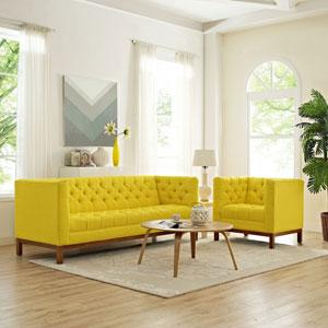 Panache Living Room Set Fabric Set of 2 in Sunny