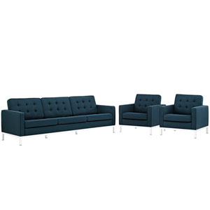 Loft Living Room Set Fabric Set of 3 in Azure