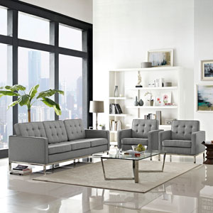Loft Living Room Set Fabric Set of 3 in Light Gray