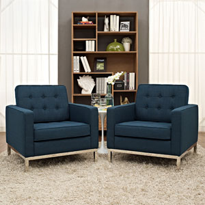 Loft Armchairs Fabric Set of 2 in Azure