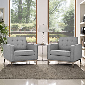 Loft Armchairs Fabric Set of 2 in Light Gray
