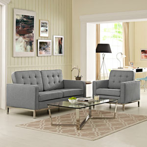 Loft Living Room Set Fabric Set of 2 in Light Gray