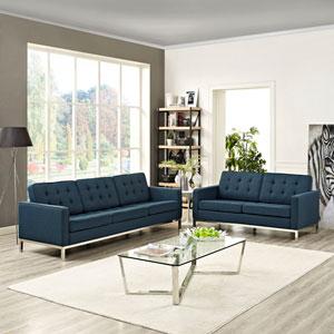 Loft Living Room Set Fabric Set of 2 in Azure