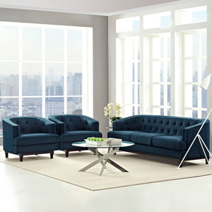 Coast Living Room Set  of 3 in Azure