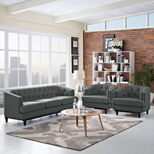 Coast Living Room Set  of 3 in Gray