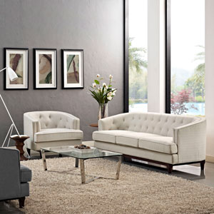 Coast Living Room Set  of 2 in Beige