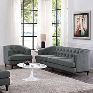 Coast Living Room Set  of 2 in Gray