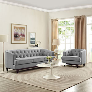Coast Living Room Set  of 2 in Light Gray