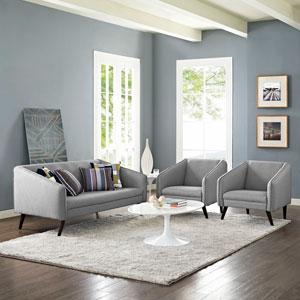 Slide Living Room Set  of 3 in Light Gray