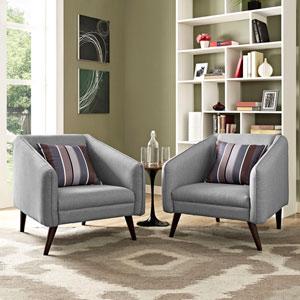 Slide Armchairs Set of 2 in Light Gray