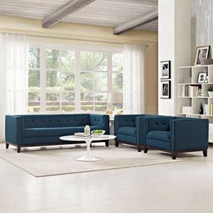Serve Living Room Set  of 3 in Azure