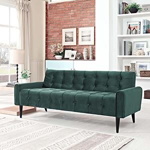 Delve Velvet Sofa in Emerald Green