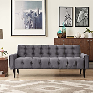 Delve Velvet Sofa in Gray