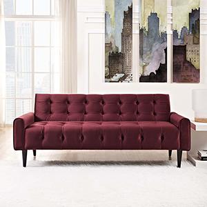 Delve Velvet Sofa in Maroon