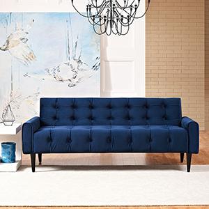 Delve Velvet Sofa in Navy