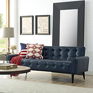 Delve Upholstered Vinyl Sofa in Blue