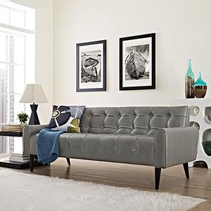 Delve Upholstered Vinyl Sofa in Gray