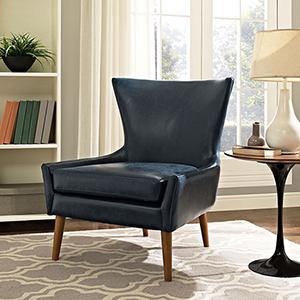 Keen Upholstered Vinyl Armchair in Blue