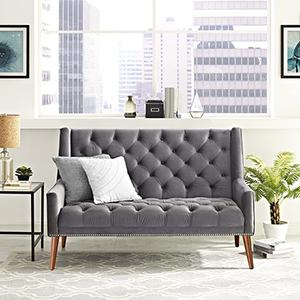 Peruse Velvet Loveseat in Gray