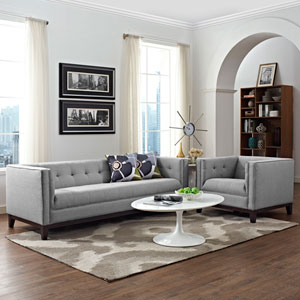 Serve Living Room Set  of 2 in Light Gray