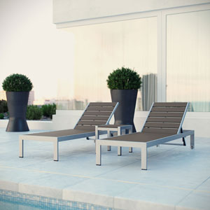 Shore Outdoor Patio Set Outdoor Patio Aluminum 3 Piece in Silver Gray