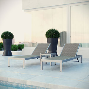 Shore Outdoor Patio Set Outdoor Patio Aluminum Set of 3 in Silver Gray