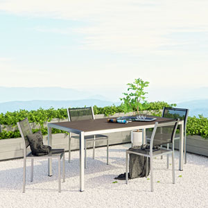 Shore 5 Piece Outdoor Patio Aluminum Dining Set in Silver Black
