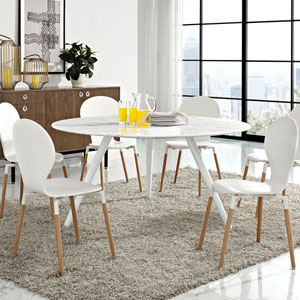 Lippa 60-inch Artificial Marble Dining Table in White