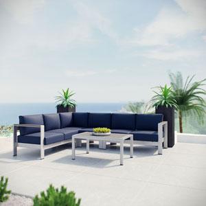 Shore 5 Piece Outdoor Patio Aluminum Sectional Sofa Set in Silver Navy