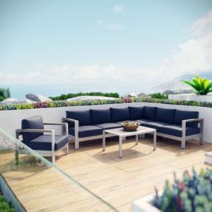 Shore 6 Piece Outdoor Patio Aluminum Sectional Sofa Set in Silver Navy