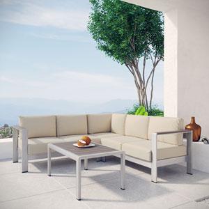 Shore 4 Piece Outdoor Patio Aluminum Sectional Sofa Set in Silver Beige