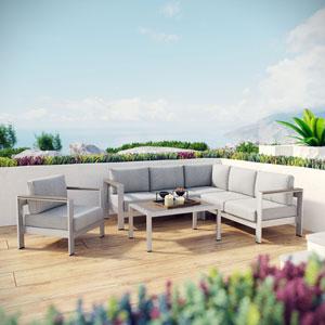 Shore 5 Piece Outdoor Patio Aluminum Sectional Sofa Set in Silver Gray