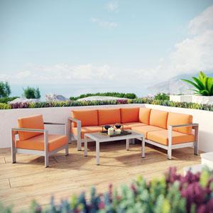 Shore 5 Piece Outdoor Patio Aluminum Sectional Sofa Set in Silver Orange