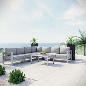 Shore 6 Piece Outdoor Patio Aluminum Sectional Sofa Set in Silver Gray