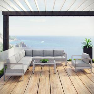 Shore 7 Piece Outdoor Patio Aluminum Sectional Sofa Set in Silver Gray