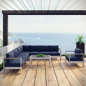 Shore 7 Piece Outdoor Patio Aluminum Sectional Sofa Set in Silver Navy