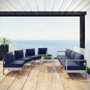 Shore 7 Piece Outdoor Patio Sectional Sofa Set in Silver Navy