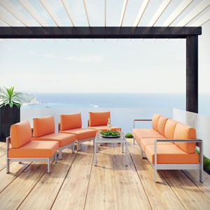 Shore 7 Piece Outdoor Patio Sectional Sofa Set in Silver Orange