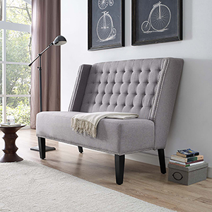 Achieve Upholstered Fabric Loveseat in Light Gray