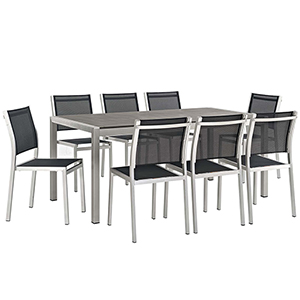 Shore 9 Piece Outdoor Patio Aluminum Dining Set in Silver Black