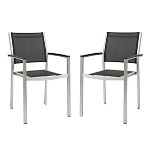 Shore Dining Chair Outdoor Patio Aluminum Set of 2 in Silver Black